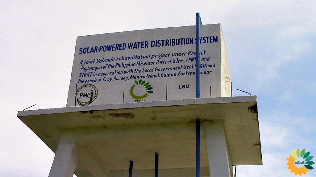 Solar water tank in Barangay Banaag, Manicani, Eastern Samar.